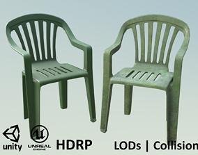 3D asset Garden Plastic Chair Green - 3 Versions