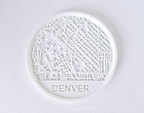 028a - Drink Coaster - Denver Map - 3D printable model