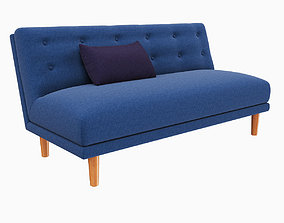 West Elm Rounded Retro Armless Sofa 3D