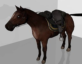 3D model low-poly Horse cavalry