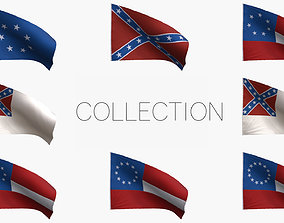 Confederacy Flags Collection 3D model