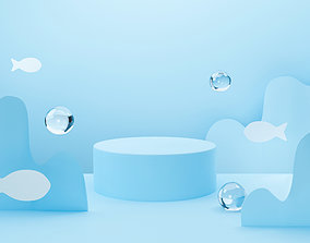 3d blue podium on pastel background abstract water