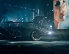 3D model Retro Futuristic Cyberpunk Car