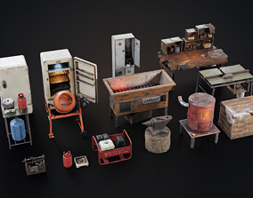 3D model Set of workbenches and tools