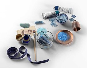 Blue Painting Workplace Composition 3D blue