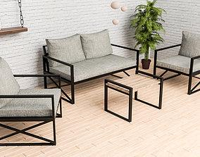 Garden furniture set outside furnish 3D asset