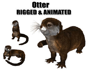 3D model animated otter beaver hair