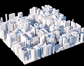 Low poly cyber-punk new york city block 3D model