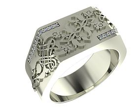 Ring with traditional Armenian ornaments 3D print model