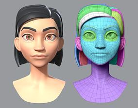 Cartoon woman base mesh 3D model