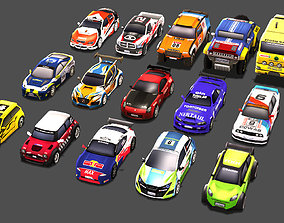 Low Poly Rally Car Pack Low-poly 3D game-ready