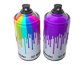 3D model Spray Can with paint