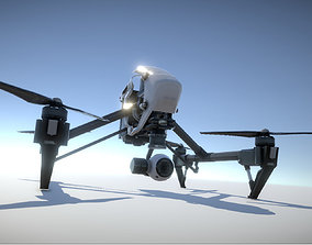 animated DJI Inspire quadcopter low poly model
