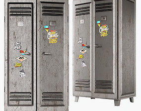 Metal locker grey 3D