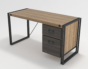 Industrial Wooden Metal Frame Desk Table 3D model
