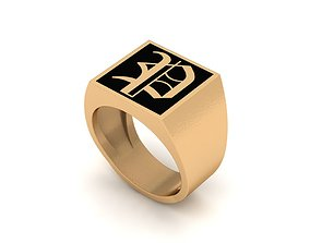Old English Letter Ring P 3D printable model