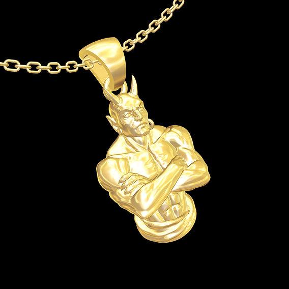Giant bust- Sculpture pendant jewelry gold necklace 3D print model