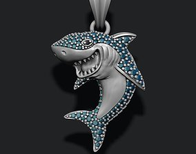 3D print model Shark pendant basrelief with gems