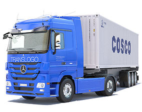 3D model Mercedes Actros with containers semitruck