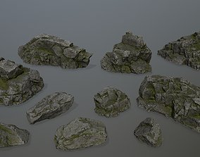 cliff rocks set 3D model low-poly