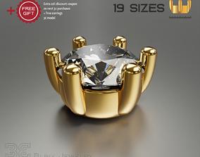 3D print model solitaire ring head engagement stud 1