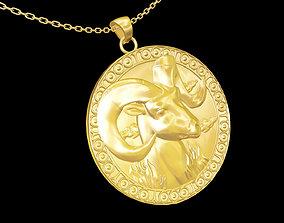 Sheep Head pendant jewelry gold 3D printable model 1