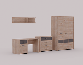 3D Furniture Set - Shelf Table Drawers Wardrobe