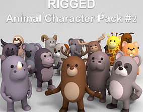mascot 3D model Rigged Animal Character Pack 2