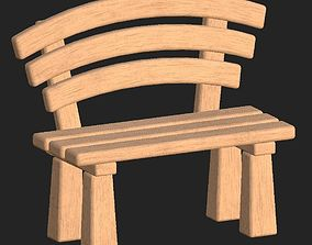 3D asset Cartoon wooden bench 1