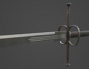 3D asset Swiss Landsknecht two-handed sword 1550