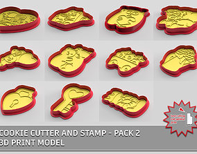 3D Cookie cutter and stamp - pack 2 kitchen