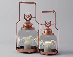 3D Horse Shoe Lantern Candleholder Set