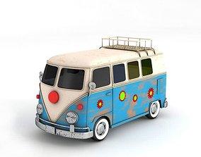 3D model Blue And White Volkswagen Bus