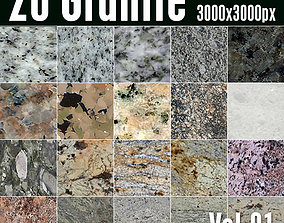 20 High Res Seamless Granite Textures Vol01 3D