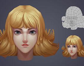 VR / AR ready 3D game handpainted female head