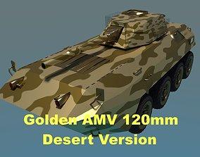 Golden AMV Armored Mortar Vehicle Desert Version 3D asset