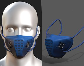 Gas mask respirator plastic blue protection 3D asset