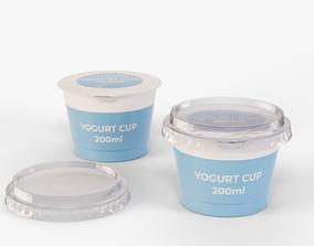 3D model Yogurt Cup 200ml Cap