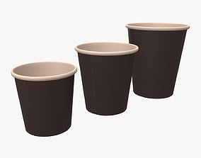 Recycled small paper coffee espresso cups 3D model