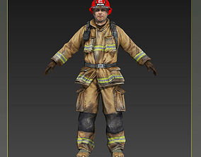 Firefighter of NY Rigged Character 3D model