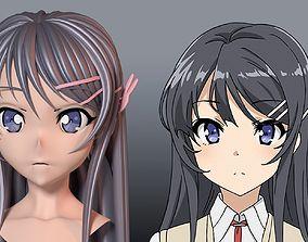 Sakurajima Mai hair style 3D
