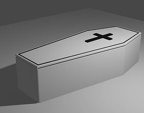 3D asset White Coffin Low Poly - Caixao branco