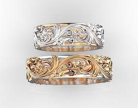 3D print model Flower ornamenr rings pair