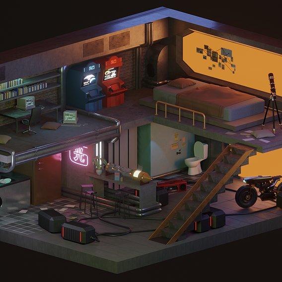 Sci-Fi Bunker Interior