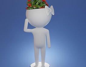 3d model Succulent plant pot Cartoon character