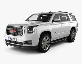 3D model GMC Yukon SLT with HQ interior and engine 2014
