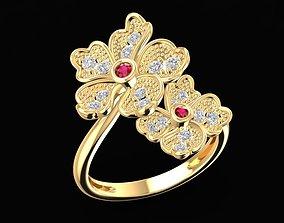 1685 Beautiful Flower ring 3D print model