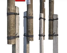 Column with concrete support 3D asset