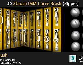 10 Zbrush IMM Curve Brush - zipper 3D
