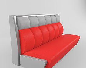 Red Retro Restaurant Diner Sofa 3D